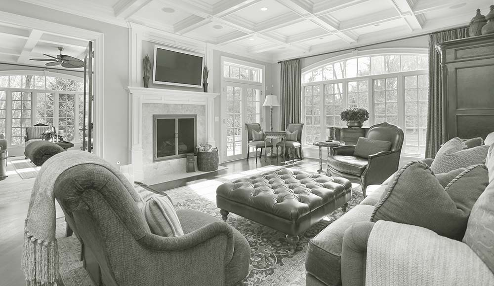 Luxury living room interior seen during a home inspection